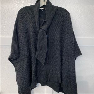 Trina Turk grey knit Button tie poncho small